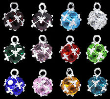12 Mixed Silver Plated Birthstone Pendants 14x10mm