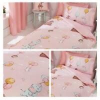 Kids Duvet Cover Pink Float Away Animal Childrens Quilt Bedding Set Covers