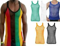 Mens string summer mesh vest top 100% cotton fishnet fitted breathable cool Gym