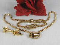 Vintage Emerald Green Rhinestone Necklace Bracelet & Earrings Set  CAT RESCUE