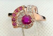 14k Rose Gold Ruby and Diamond Ring Vintage
