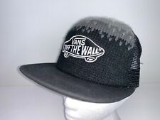 Vans Off The Wall Trucker Baseball Cap Hat Black Grey Wool & Mesh Snapback