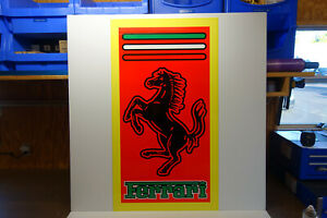 "Ferrari  Steel Enamel Die Cut COLORFUL ENAMEL Dealer sign. 47"" high X 26"" wide"