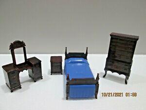 Vintage IDEAL Hard Plastic Dollhouse Furniture Bedroom Set