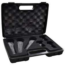Black Microphone Carry Case for 3 Mics and 3 Holders Foam Protection Storage