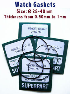 """Watch Gaskets """"O"""" ring seal for case back, Diam 28 to 40mm, thick 0.5mm to 1mm"""