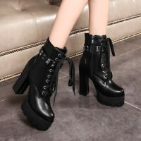 Womens High Block Heel Platform Ankle Boots Goth Punk Ladies Lace Up Chunky Stud