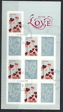 "AUSTRALIA 2009 ""WITH LOVE"" SELF ADHESIVE SHEETLET  WITH EMBELLISHMENTS FINE USED"