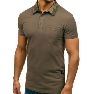 US Mens Soild Short Sleeve Dress Shirts Business Slim Fit Polo Shirt Blouse Tops