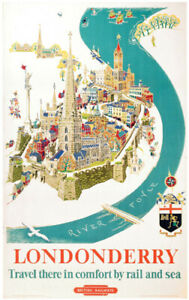 Vintage Londonderry comfort by rail and sea  Railway Travel Poster A1/A2/A3/A4!