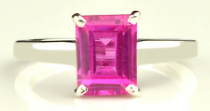 14KT Gold With 2.10 Carat Rectangle Cut Natural Pink Tourmaline Solitaire Ring