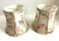 "2 BELL MINI CLIP-ON LAMP SHADES Victorian Look Floral Fabric 4""x5""x5.5"""