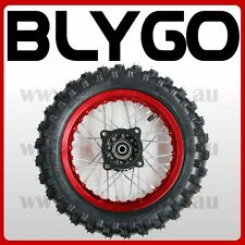 """RED 2.50- 10"""" Inch Front Wheel Rim + Knobby Tyre Tire PIT PRO Trail Dirt Bike"""