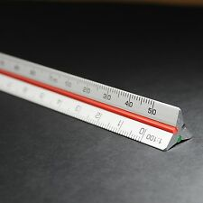 """10cm 4 """"metrica in alluminio scala TRIANGOLARE righello 1:2.5 1:5 1:10 1:20 1:50 1:100"""