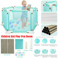 6 Sides / 18 Pole Baby Playpen Fence Play Pen for Children Kids + Free 10 Ball