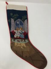 "NEW SFERRA Needlepoint Christmas Stocking CHILDREN AT WINDOW 19"""