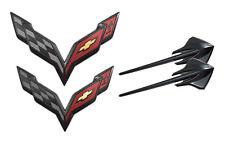 2014+ C7 Corvette Black Carbon Flash Emblem Set - Hood Rear Bumper & Fenders