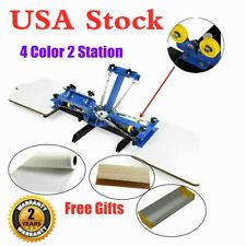 4 Color 2 Station Silk Screen Printing Press Machine For Diy T Shirt Printing