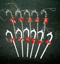 11~Vtg 5.5� Twisted Crystal+Satin Glass Icicle Christmas Ornaments Candy Canes