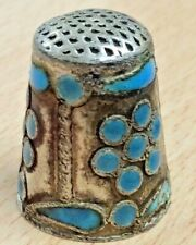 More details for pretty 935 silver & turquoise enamel thimble