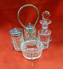 VINTAGE CRUET SET CRYSTAL  AND NICKEL SILVER PLATED 5 PIECE