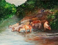 Western Cows Cattle Animals Palette Knife ORIGINAL oil painting Andre Dluhos