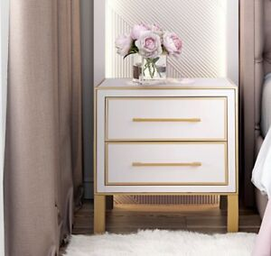 NEW Currey & Co REPLICA Arden Side Table Nightstand Chest Pink Lacquer & Gold