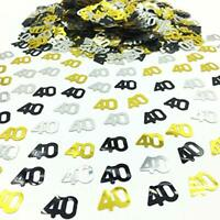 Black Gold & Silver 40th Birthday Party Table Confetti Decorations Age Sprinkles