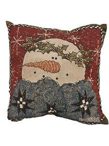 Lisa Hilliker Snowman Pillow Red Green Tapestry Mohawk USA One Fuzzy Snowman