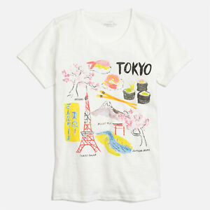 NEW J. Crew Women's Tokyo Japan Collector T-shirt Top Cherry Blossom Ivory Tee L