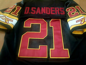 REDSKINS #21 DEION SANDERS SPECIAL BLACK THROWBACK 2 PATCH SEWN JERSEY 2XL NWT