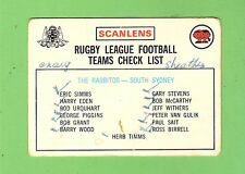 1975 RUGBY LEAGUE CHECKLIST CARD - SOUTH SYDNEY RABBITOHS, MARKED