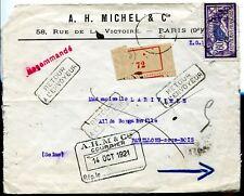 jolie lettre de France au type Merson N°144 recommandé retour à l'envoyeur 1922