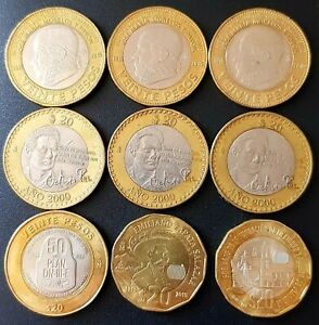 2000 - 2019 Mexico 9 LOT $20 Pesos Bimetallic 5 types CIRCULATED.