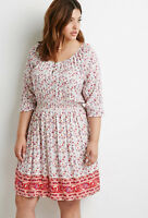 Forever 21 Plus Size Cream/Multi Paisley Print Babydoll Dress 1X