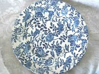 Collectible CHURCHILL Cobalt Blue Chintz Rose/Peony Plate - Made in England