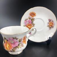 ROYAL GRAFTON Tea Cup &  Saucer Pink Orange Floral Pattern Teacup England