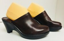 New Born Handcrafted Footwear Brown Leather Clogs Shoes Women's 10 M 42 W61016