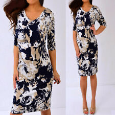 CONNECTED APPAREL Navy Blue Beige Short Sleeve Sheath Dress 6 S Small