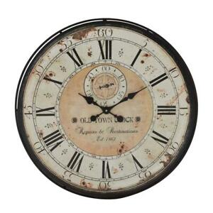 32 in. Round Rustic Black Iron and Wood Antique Roman Numeral Wall Clock