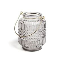 Light Grey Geometric Cut Glass Candle Holder Lantern Silver Handle