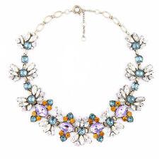 Necklace Golden Chain Flower Purple Green Amber Oval Retro Original Marriage