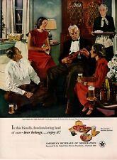 1951 ORIG VINTAGE US BREWERS FOUNDATION MAGAZINE AD ILLUS BY DOUGLASS CROCKWELL