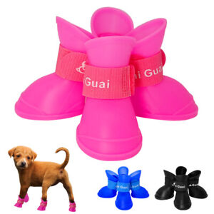 Rubber Anti Slip Dog Shoes for Small Dogs Waterproof Booties Boots Chihuahua SML
