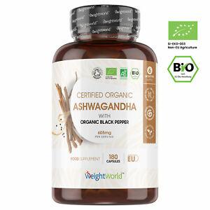 Bio Ashwagandha Kapseln - Schlafbeere Extrakt mit 600mg pro Kapsel 180 Stk Vegan