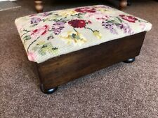 Footstool Vintage Padded Tapestry Fabric Top
