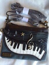 NEW CHALA PIANO MUSIC MINI CROSSBODY CELL PHONE PURSE ADJUSTABLE STRAP BLUE