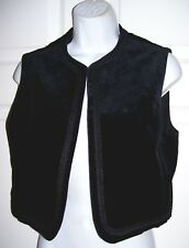Women's Small Short Vest Black Velvet Velour Bric A Brac Trim Sleeveless New