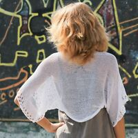 Handmade summer cotton bolero shrug knit white cover up women loose lace jacket