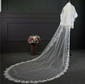 UK 2m 3m White Ivory 2 Tier Cathedral Length Wedding Veil Lace Edge With Comb